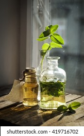 Herbal tea in the sunlight on the rustic wooden background. Natural warm sunlight. Soft focus.