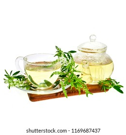 Herbal tea with Sweet Clover (Melilotus albus) in a glass cup and pot with fresh herbs on wooden cutting board. Isolated on white background.