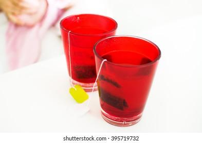 herbal tea tisane infuse red glasses drink teabags