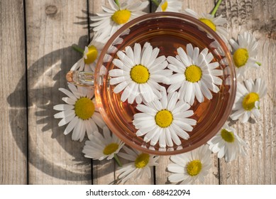 Herbal tea with white chamomile on a wooden table on a summer sunny morning