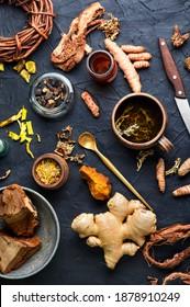 Herbal tea and a wide range of medicinal herbs, roots and bark.Herbal medicine.Herbalism
