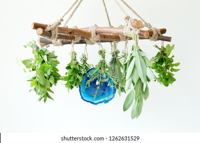 Herbal Witch - branch pentagram horizontal herb dryer with blue agate slice, and fresh herb bundles - horizontal with white copy space