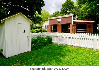 Herbert Hoover National Historic Site in West Branch, Iowa commemorates the life of Herbert Hoover, the 31st President of the United States. Outhouse, blacksmith shop, and picket fence.