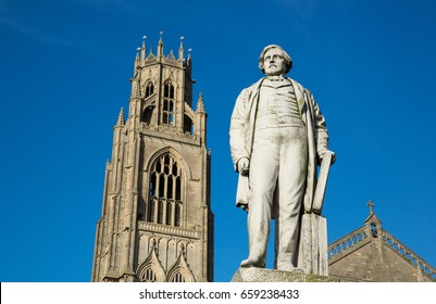Herbert Ingram Statue outside St. Botolph's Church, Boston, Lincolnshire, United Kingdom