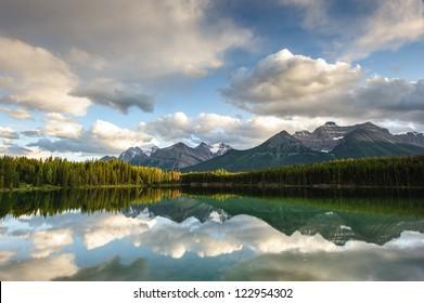 Herbert Lake panorama in Banff National Park, Alberta, Canada
