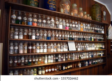 Herberton, Queensland/Australia-Oct 13, 2019:  A rebuilt apothecary shop showing multitudes of bottles holding different chemical for dispensing
