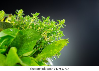 Herbs. Bunch of Fresh green organic aromatic herb leaves close-up over black background. Mint, Peppermint, Rosemary, Thyme, Sage closeup. Green leaves. Aromatic herbs. Aromatherapy