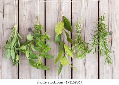 herbs bunches on old wooden wall