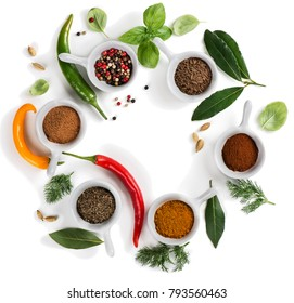 Herbs, condiments and spices isolated on white background.   Top view with copy space.