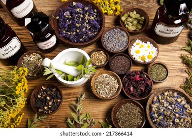 Herbs medicine and vintage wooden