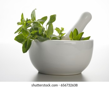 herbs in the mortar