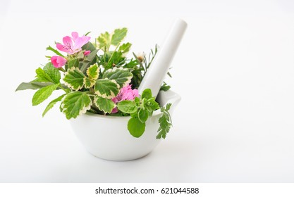Herbs in a mortar isolated on white background
