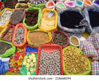Herbs, potions and powders for sale at the street market in Pukara, Puno, Peru