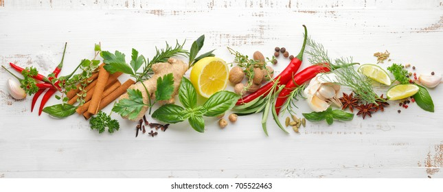 Herbs and Spice Collection on wooden background,Top View.