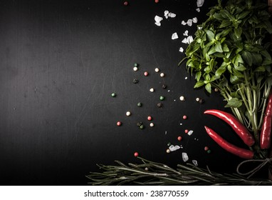 Herbs and spices. basil, red pepper, salt and rosemary on a black background. With space for text
