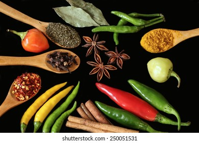 Herbs and spices - chili peppers, star anise cinnamon - black background