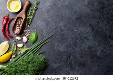 Herbs and spices. Cooking ingredients. Rosemary, dill, onion, olive oil, salt and pepper. Top view over stone table with copy space for your recipe