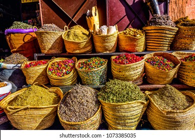 Herbs and Spices Kept in bags in Shop -Marrakech.