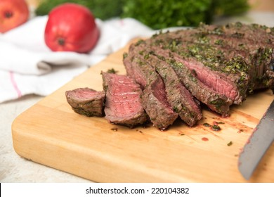 Herbs and Spices Marinated and Cooked to Medium Rare London Broil Steak
