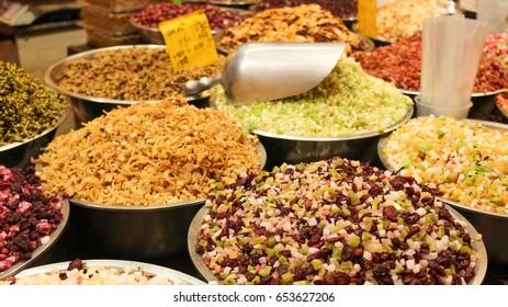 Herbs and spices on Mahane Yehuda Market , Jerusalem, Israel