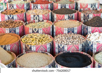 herbs and spices on a middle eastern market