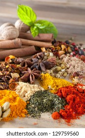Herbs, spices and teas as a colorful background on a wooden table