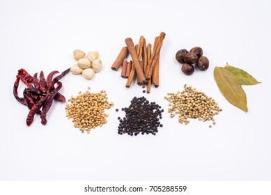 herbs and spices in white background
