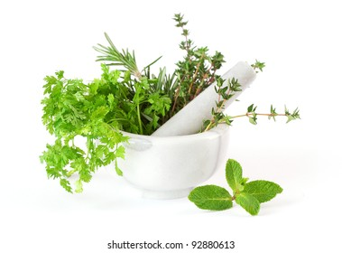 Herbs whith mortar and pestle
