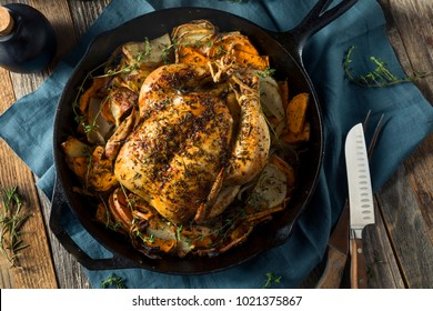 Herby Homemade Rustic Whole Skillet Chicken with Potatoes and Onions