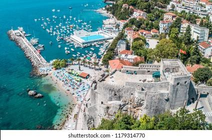 Herceg Novi, Montenegro aerial view on city - Shutterstock ID 1179314770
