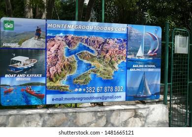 HERCEG NOVI, MONTENEGRO -. APR 24, 20,19 - Tourist map of Montengro and Kotor Bay, Herceg Novi, Montenegro