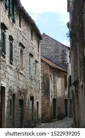 HERCEG NOVI, MONTENEGRO -. APR 24, 20,19 -  Narrow streets of Stari Grad, Hvar Island, Croatia