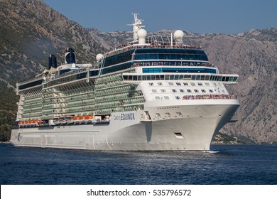 HERCEG NOVI, MONTENEGRO, August 9 2015, Cruise ship Celebrity Equinox approaches the narrowest part of Boka Bay as she departs Port of Kotor