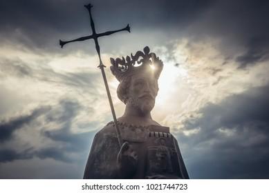 Herceg Novi, Montenegro - May 24, 2017: Statue of king Stephen Tvrtko I in port of Herceg Novi