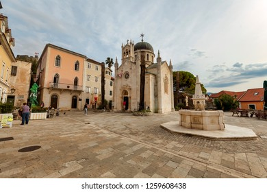 HERCEG NOVI, MONTENEGRO - OCTOBER 22, 2018: The Crkva Svetog Arhangela Mihaila (St. Michael Archangel) Church is seen on October 22, 2018 in Herceg Novi, Montenegro.