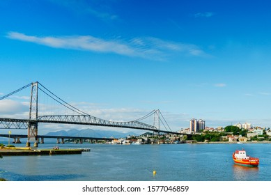 Hercilio Luz Bridge. It is the first bridge constructed to link the Island of Santa Catarina to the mainland and is the longest suspension bridge in Brazil, built in 1926. October, 2015.