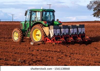 Herculandia, Sao Paulo, Brazil, September 29, 2019, Mechanized planting of peanuts on a farm in Herculandia County
