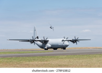 Hercules C130 military transport taxiing