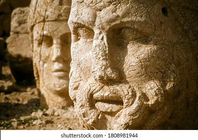 Hercules giant head at Nemrut Dag colossal statues guarding ancient tomb,Turkey