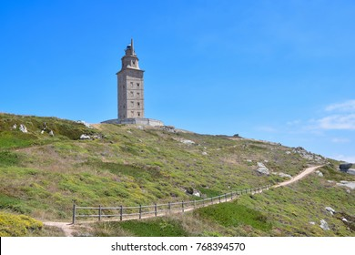 Hercules tower, A corunna. Torre de hercules, La Coruña, Galicia, Spain. Tower of Hercules,  is the oldest Roman lighthouse working.The Tower of Hercules is a World Heritage declared by UNESCO in 2009