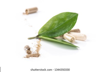 Herd medical pills and capsule with green leaves isolated on a white background