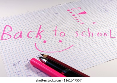 Here is september and children back to school for next education. All is on white background. Pink
