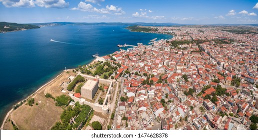 Here is where two continentals meet. Europe and Asia. Drone view of Canakkale. City center and bosporus. Panoramic drone photo of Canakkale city and castle.