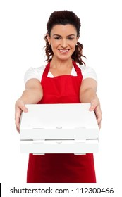 Here is your order sir. Hot pizza at your doorstep. Enjoy your meal. Woman delivering pizza