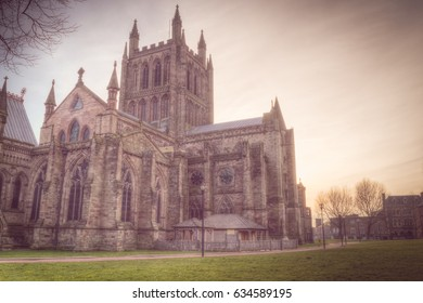 Hereford cathedral sunset HDR Haze Split Toning photography, Gothic - Early English architecture