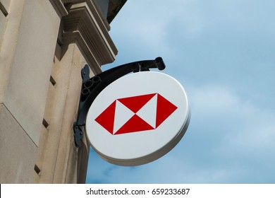 Hereford, UK - June 2017: HSBC Bank sign.