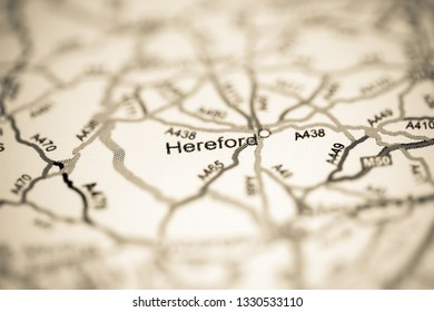 Hereford. United Kingdom on a geography map