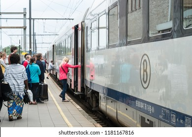Herentals, Belgium - June 24, 2018 : A train parking at Herentals station for waiting passengers get on the train. Herentals is a city in the province of Antwerp.