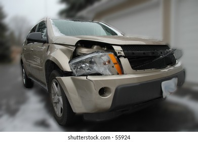 Here's a photo of my vehicle after we hit a deer last week.  December 2004