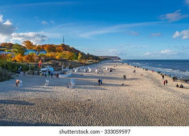 HERINGSDORF, GERMANY - OCTOBER 25: The beach at Heringsdorf on the German side of the island Usedom on a beautiful sunny day. October 25, 2015 in Heringsdorf, Germany